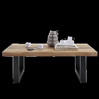 Bodahl Couchtisch 10775-12342 Tischplatte aus Massivholz mit Baumkante Metallgestell schwarz U-Beine