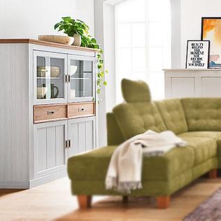 MCA Furniture Cleveland Highboard T05 für Ihr Wohnzimmer oder Esszimmer Anrichte im Landhausstil mit zwei Türen zwei Glastüren und zwei Schubkästen Korpus und Front Dekor new white mit Absetzungen in Wildeiche Dekor - Vorschau 2