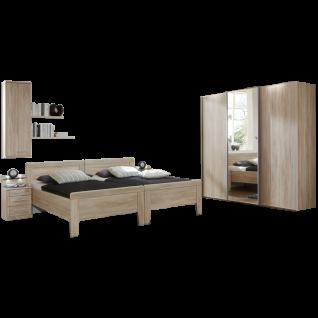 Wiemann Meran Schlafzimmer Schwebetürenschrank 2 Komfortbetten mit Vario-Beschlag Nachtschränken Hängeschrank und Wandregal in Eiche-sägerau-Nachbildung