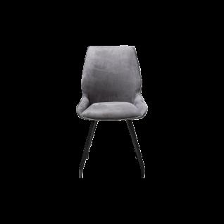 Habufa Scott Stuhl mit vier schwarzen Füßen und Bezug in Anthrazit für Ihr Esszimmer oder Ihre Küche