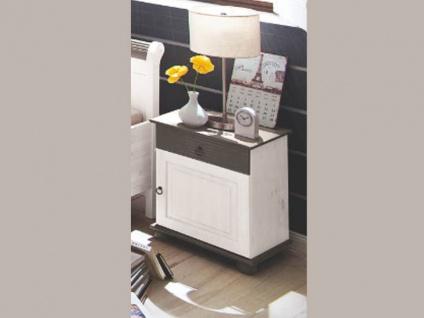 Euro Diffusion Oslo Schlafzimmer 2-teilig Bett mit 2 Schubkästen und Drehtürenschrank 3-türig mit 1 Spiegeltür in weiß mit Absetzungen in lava optional mit Nachtkommoden Sitzbank Kommode und Wandspiegel Liegefläche wählbar - Vorschau 3