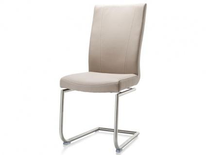 Habufa Sofie Freischwinger für Ihr Esszimmer Schwingstuhl mit Edelstahlgestell rund und wählbarem Stoffbezug Handgriff an der Rückenlehne wählbar