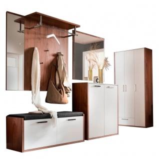 Wittenbreder LimU Garderobenkombination Nr. 06 komplette Garderobe in Kernnussbaum Furnier und Lack Weiß matt Metallteile in Chrom