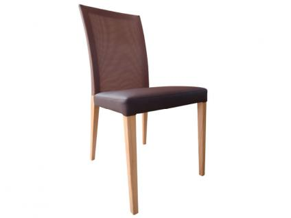 DKK Klose Stuhl S44 mit Komfortschaumpolsterung im Sitz und Netzspannstoff im Rücken Stuhl für Wohnzimmer und Esszimmer Bezug in vielen Stoffen und Echtleder wählbar