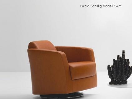 Ewald Schillig Sam 470 Lounge Sessel für Wohnzimmer Fußausführungen wählbar mit oder ohne Drehscheibe verchromt 470C in Stoff oder Leder