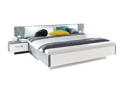 Forte Rondino Bettanlage RDNL181B mit Liegefläche ca. 180x200cm Bett inklusive Glasbodenbeleuchtung im Kopfteil mit zwei Nachtkommoden mit Fußbank mit Polstersitz und Truhe Ausführung wählbar