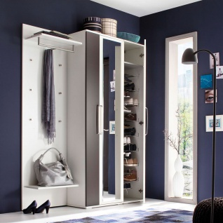 Wittenbreder Roubaix Vorschlagskombination Nr. 07 komplette Garderobe für Ihren Flur und Eingangsbereich 3-teiliges Garderoben-Set in Weiß matt und Lava matt mit Garderobenpaneel und zwei Hochschränken - Vorschau 2