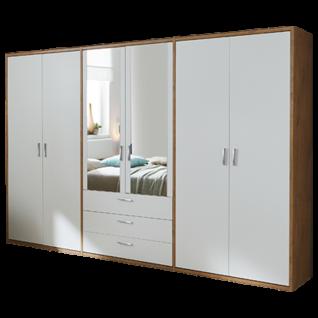 Priess Paris Schlafzimmer 6-türiger Drehtürenschrank mit Schubkästen in Korpus Dekor Wildeiche und Front Dekor Lichtweiß