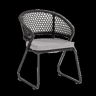 Niehoff Garden Levina Gartenstuhl G701-100-443 mit Schlittengestell Aluminium anthrazit Rücken Kordelflechtung grau Sitz gepolstert hellgrau