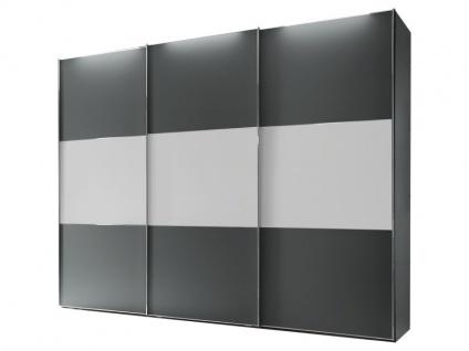 Staud Includo Schwebetürenschrank 3-türig mit Extra Innenausstattung Korpus und Front in Dekor vulkan Türen mit Mittelband in Dekor weiß
