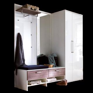 Wittenbreder Roubaix Vorschlagskombination Nr. 06 komplette Garderobe für Ihren Flur und Eingangsbereich 5-teiliges Garderoben-Set in Weiß bzw. Weiß Hochglanz und Trüffel Eiche Nachbildung
