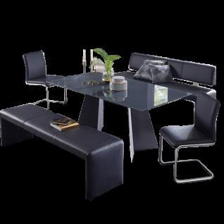 K+W Silaxx Essgruppe 7973 Evita fünfteilig bestehend aus einer modernen Sitzbank mit Distanzhaltern einer Hockerbank einem Funktionstisch aus der Modellreihe 5252 und zwei exklusiven Freischwingern aus der Modellreihe 6189 mit einem hochwertigen Echtleder