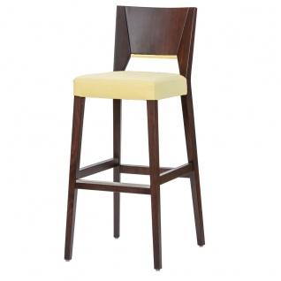 DKK Klose Barhocker 101146 mit gepolstertem Sitz und Applikation an der Rückenlehne Gestell Massivholz in verschiedenen Beiztönen wählbar Barstuhl für Esszimmer Bar und Partyraum Bezug wählbar