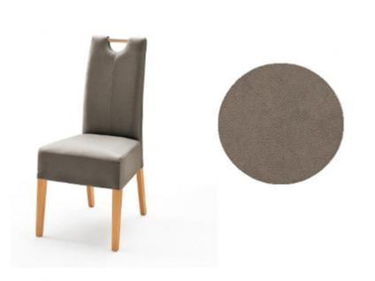 MCA Direkt Stuhl Elida taupefarbener Bezug Argentina 2er Set Polsterstuhl für Wohnzimmer und Esszimmer Ausführung 4 Fuß Massivholzgestell und Griff wählbar