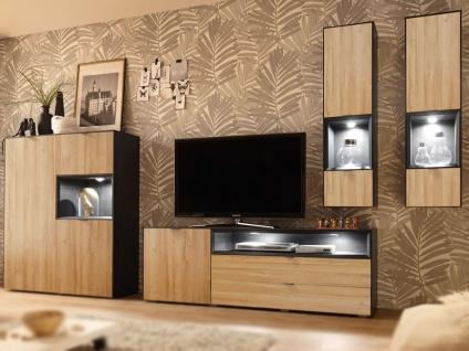 Mäusbacher Dallas Kombination für Ihr Wohnzimmer vierteilige Wohnwand mit 1 Highboard 1 Lowboard und 2 Hängevitrinen Korpus Schwarzstahl Dekor und Frontabsetzung Grandson oak Dekor
