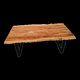 Sit Möbel Esstisch massive Tischplatte aus Akazie mit Baumkante Gestell schwarz