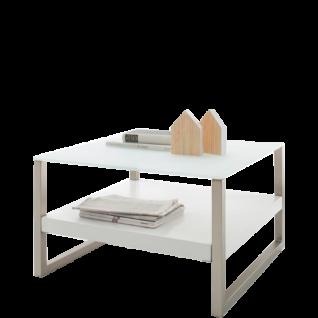 MCA Furniture Couchtisch Baveno Art.Nr. 58161W52 Platte Sicherheitsglas weiß matt und Gestell Edelstahloptik gebürstet mit Ablage in weiß matt lackiert