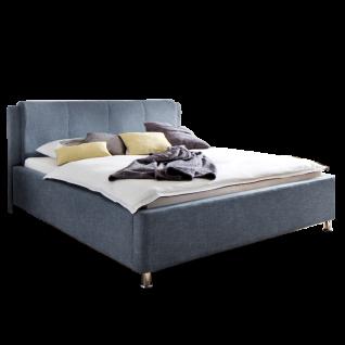 Meise Möbel Polsterbett El Paso mit Stoffbezug Culture in blau inklusive Bettkasten und Lattenrost Kopfteil mit Kissenüberzug Metallfüsse in Chromoptik Liegefläche wählbar