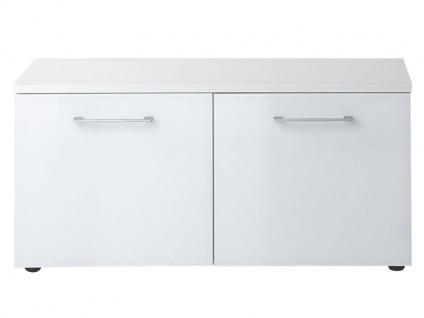 Germania Schuhbank Scalea in Weiß mit Glasoberfläche, detailreich, Bügelgriffe aus Metall, viel Stauraum für Flur und Dielenbereich