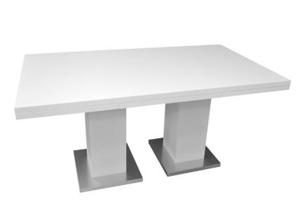 Mäusbacher Esstisch Komfort B ausziehbarer 2-Säulentisch für Ihr Esszimmer Tischplattenfarbe und Untergestellfarbe wählbar und individuell kombinierbar Bodenplatte in Edelstahloptik Größe wählbar