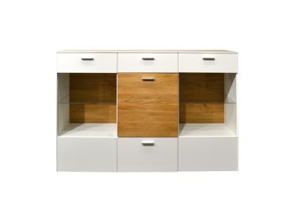 Mäusbacher Arizona Kommode 12-2GL-E für Ihr Wohnzimmer oder Esszimmer mit 3 Türen und zwei Schubkästen Korpusdekor wählbar weiß oder anthrazit Absetzung Wildeiche geölt