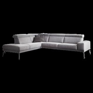 K+W Polstermöbel Ecksofa Angelina 7267 mit Kopfteilverstellung sowie einer Sitztiefenverstellung bezogen im modernen Stoff in der Frabe grau 595-80