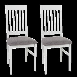 Wohn-Concept Lima Stuhl Pedro 2H 01 WM 70 2er-Set Stuhl aus Massivholz mit Vierfußgestell und Polstersitz in Stoff Grau Gestell und Rückenlehne weiß lackiert für Ihr Esszimmer