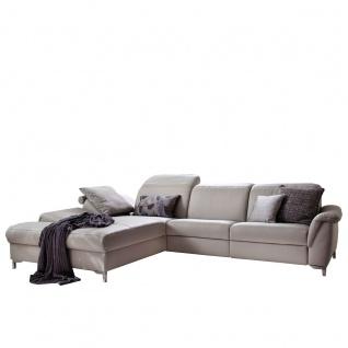 Himolla Funktionssofa 1826 back to basics Sofa in L-Form bestehend aus Recamiere + 2, 5-Sitzer Lederbezug L24 silber Rücken echt verstellbare Kopfstützen äußerer Sitz mit elektrischer Wall-Free-Funktion