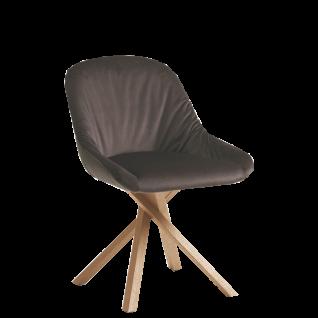 Hartmann Brik Stuhl Anni 0632 mit wählbarem Holzgestell gepolstertem Sitz und Rücken mit Elastic-Aktiv-Federung
