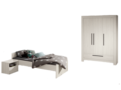 Paidi Laslo Kinderzimmer 3 teilig bestehend aus Liege 90x200 cm 3-türiger Kleiderschrank mit 1 Schubkasten und Nachtkommode optional mit Standregal