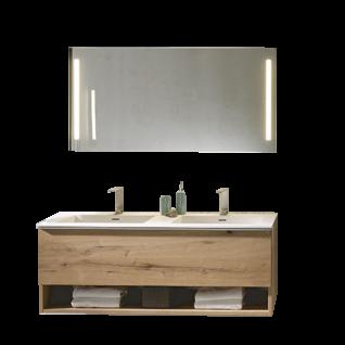 Voglauer V-Alpin Badezimmer-Einrichtung Vorschlagskombination 51 Waschtischunterschrank mit Doppelwaschtisch und Spiegel inklusive Front- und Waschplatz LED-Beleuchtung Korpus und Front Alteiche rustiko echtholzfurniert