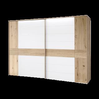 Thielemeyer Mira Schwebetürenschrank Mittelriegel mit Tiefenstruktur Ausführung Wildeiche mit Colorglasauflage in weiss Schrankbreite wählbar optional mit LED-Kranz-Beleuchtung