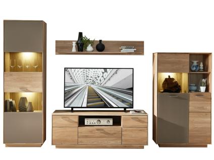 Wohn-Concept TOPAZ TV- / Wohnlösung 46 03 HM 83 in Wildeiche bianco mit Absetzung in Glas Basalt Wohnwand mit viel Stauraum Wohnkombination mit 2 Vitrinen 1 TV-Unterteil und 1 Wandboard Wohnwand für Ihr Wohnzimmer oder Gästezimmer LED-Beleuchtung wählbar
