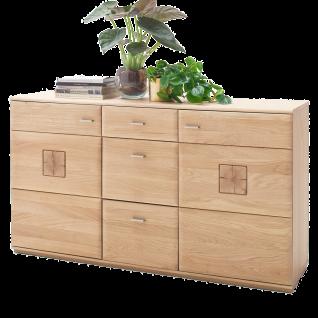 MCA furniture Sideboard Bologna Art.Nr. BOL11T01 in Eiche Bianco teilmassiv Front Massivholz mit Hirnholzapplikationen und durchgehenden Lamellen Korpus furniert Oberfläche geölt Kommode für Ihr Wohnzimmer oder Esszimmer