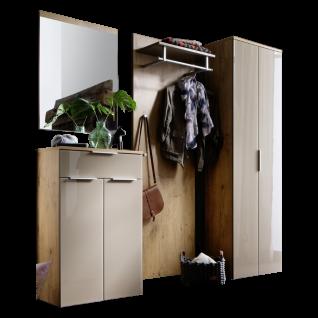 Wittenbreder Stelvio Garderobenkombination Nr. 10 komplette Garderobe für Ihren Flur und Eingangsbereich 4-teilige Vorschlagskombination im Dekor Wildeiche und Hellbraun Glas und Karamell Dekor