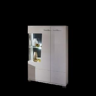 Wohn-Concept Alibaba Highboardvitrine 40 88 WW 04 moderne Anrichte für Ihr Wohnzimmer oder Esszimmer mit zwei Türen und einem Glasausschnitt in Weiß Hochglanz und Weiß matt mit Absetzungen in Terra Grau Hochglanz MDF mit Diamant-Effekt Beleuchtung wählbar