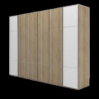 Nolte Möbel Marcato 2.3 Drehtürenschrank 6-türig Korpus Riviera-Eiche-Nachbildung Front außen Polarweiss Riviera-Eiche-Nachbildung Griff alu matt