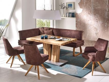 K+W Möbel 4312 Basino Eckbank mit Stühlen und Sessel 6105 und Säulentisch 5071 Komfortbank für Esszimmer Bezug Stoff