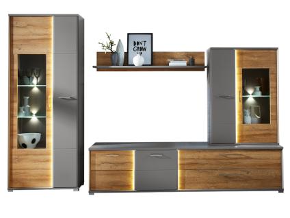 Wohn-Concept Virano 4-teilige Wohnkombination 40 55 M2 80 für Ihr Wohnzimmer mit Standvitrine Hängevitrine TV-Unterteil und Wandboard Wohnwand inkl. LED-Beleuchtung Ausführung Gran Oak Gold Nachbildung / Basalt matt
