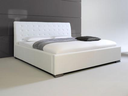 Meise Möbel ISA-COMFORT Polsterbett mit Kunstlederbezug in weiß schwarz braun oder muddy mit gestepptem Kopfteil und Metallfüßen Liegefläche wählbar - Vorschau 2