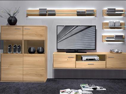 Schröder Vita Wohnkombination K003 teilmassive Wohnkombination sechsteilig mit Highboard Hängeelement als TV-Schrank und vier Wandboarden für Wohnzimmer oder Ferienwohnung Holzausführung und Beleuchtung wählbar