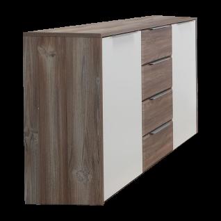 Forte Esporao Kommode mit 2 Türen und 4 Schubkästen Korpus Picea Kiefer Front weiss matt kombiniert mit Picea Kiefer