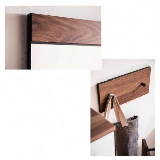 Wittenbreder Novara Garderobenkombination Nr. 13 komplette Garderobe für Ihren Flur und Eingangsbereich 7-teilige Vorschlagskombination in Nussbaum und Glas Weiß mattiert Griffe und Metallteile Schwarz - Vorschau 4