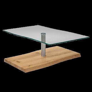 Venjakob Couchtisch 4078-7519 mit Bodenplatte in Wildeiche hell geölt Massivholz und Tischplatte aus Kristallglas Wohnzimmertisch ca. 110 x 70 cm für Ihr Wohnzimmer ***am Lager*** - Vorschau 3