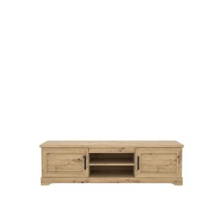 Forte Rockhampton Lowbaord RHPT131 für Ihr Wohnzimmer mit zwei Türen und zwei offenen Fächern Dekor Artisan Eiche Holznachbildung