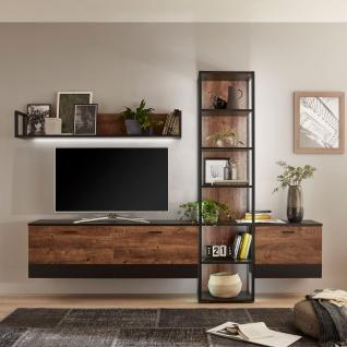 Ideal-Möbel Bacoor Wohnkombination 11 mit Regal Wandboard und zwei Hängelowboards Dekor Eiche Ribbeck Cognac und Cosmos Grey Melamin mit Stahlprofilen - Vorschau 2