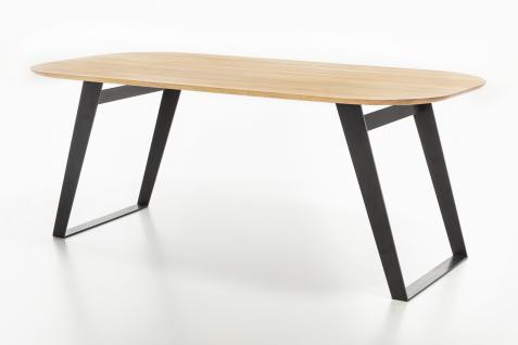 Standard Furniture Esstisch Ottawa mit Gestell 3 Spange schwarz Rundung Platte unten mit fester Tischplatte oval massiv Tisch für Esszimmer Holzausführung und Größe wählbar