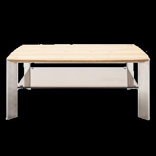 MCA Furniture Couchtisch Nelia mit Platte aus Asteiche Massivholz und Ablage aus bronzefarbigem Sicherheitsglas Beine aus Metall in Edelstahl-Optik