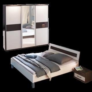 Priess Riva 4-teiliges Schlafzimmer bestehend aus Schwebetürenschrank Futonbett und 2 Nachtschränken Korpusfarbe Havanna Frontfarbe Lichtweiss mit Absetzungen Glasauflage Havanna optional mit Türdämpfern oder LED-Aufsatzleuchten