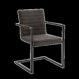 Niehoff Design Schwingstuhl mit Armlehnen 2382 Mikrofaser-Bezug Aberdeen anthrazit oder schlamm Gestell aus Roheisen geschwärzt